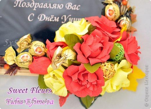Это для нашего классного руководителя. Хотелось сделать оранжевые розы, вот только бумагу не нашла)))  фото 4