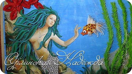 """Добрый вечер, уважаемые жители Страны Мастеров!  Выставляю на Ваш суд очередную работу.  Благодарю Мастеров у которых могла посмотреть и поучиться: Лизу ( azil ) - волосы """" Голубого Ангела """",  Татьяну ( Saphir ) - """" Золотая рыбка """",  Ольгу Ольшак - жемчужина и красные кораллы,  Елену ( Дама-кусудама ) - морские водоросли и губки.     Рыбка, рыбка помоги, золотая сделай милость...  Загадывайте желания!!! фото 5"""
