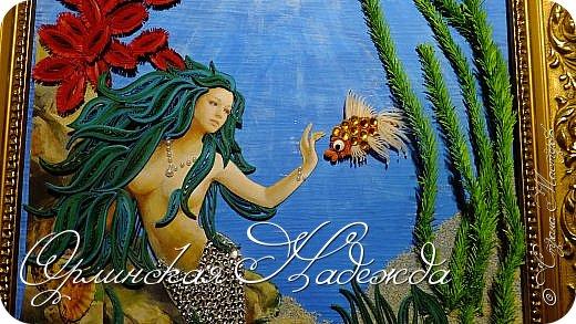 """Добрый вечер, уважаемые жители Страны Мастеров!  Выставляю на Ваш суд очередную работу.  Благодарю Мастеров у которых могла посмотреть и поучиться: Лизу ( azil ) - волосы """" Голубого Ангела """",  Татьяну ( Saphir ) - """" Золотая рыбка """",  Ольгу Ольшак - жемчужина и красные кораллы,  Елену ( Дама-кусудама ) - морские водоросли и губки.     Рыбка, рыбка помоги, золотая сделай милость...  Загадывайте желания!!! фото 13"""
