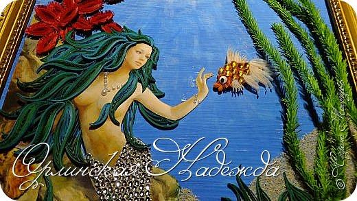 """Добрый вечер, уважаемые жители Страны Мастеров!  Выставляю на Ваш суд очередную работу.  Благодарю Мастеров у которых могла посмотреть и поучиться: Лизу ( azil ) - волосы """" Голубого Ангела """",  Татьяну ( Saphir ) - """" Золотая рыбка """",  Ольгу Ольшак - жемчужина и красные кораллы,  Елену ( Дама-кусудама ) - морские водоросли и губки.     Рыбка, рыбка помоги, золотая сделай милость...  Загадывайте желания!!! фото 4"""