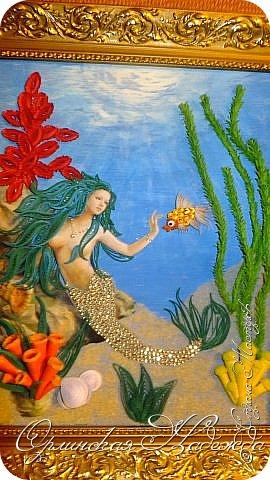 """Добрый вечер, уважаемые жители Страны Мастеров!  Выставляю на Ваш суд очередную работу.  Благодарю Мастеров у которых могла посмотреть и поучиться: Лизу ( azil ) - волосы """" Голубого Ангела """",  Татьяну ( Saphir ) - """" Золотая рыбка """",  Ольгу Ольшак - жемчужина и красные кораллы,  Елену ( Дама-кусудама ) - морские водоросли и губки.     Рыбка, рыбка помоги, золотая сделай милость...  Загадывайте желания!!! фото 3"""