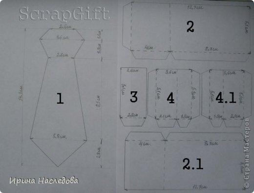 Галстук - коробочка, размер 14,5 х 6 х 5 см. Фото мастер - класс. фото 2