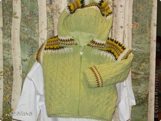 Пуловер связан спицами из 100% шерсти.  фото 7
