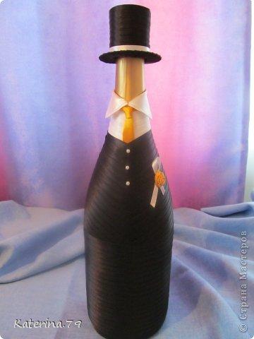 Всем доброго дня! Сегодня хочу показать свои свадебные бутылочки! Это моя первая работа для свадьбы!  фото 5