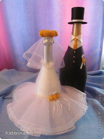 Всем доброго дня! Сегодня хочу показать свои свадебные бутылочки! Это моя первая работа для свадьбы!  фото 8