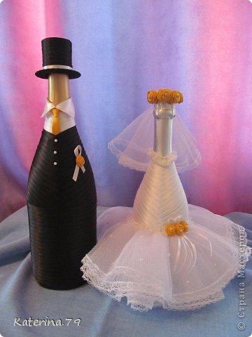 Всем доброго дня! Сегодня хочу показать свои свадебные бутылочки! Это моя первая работа для свадьбы!  фото 9