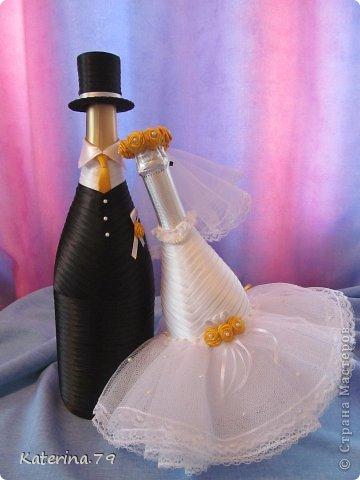 Всем доброго дня! Сегодня хочу показать свои свадебные бутылочки! Это моя первая работа для свадьбы!  фото 1