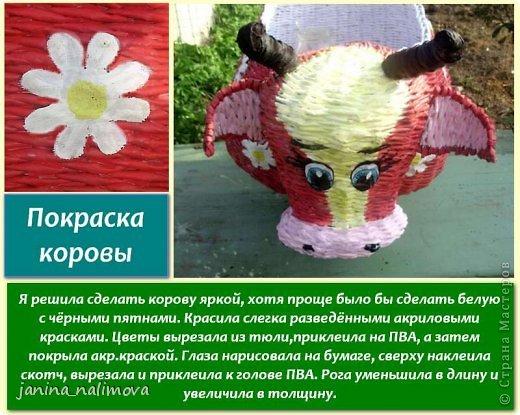 Мастер-класс Поделка изделие Плетение Плетённый короб для игрушек Корова Трубочки бумажные фото 15