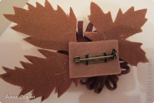 Добрый день дорогие мастерицы! Осень в самом  разгаре, захотелось и  в свой гардероб внести какие-нибудь осенние мотивы. Новый берет вдохновил на осенние брошки из фетра. Это мой первый опыт, надеюсь что не последний.  фото 4
