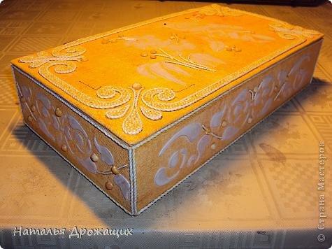 Декор предметов Шкатулка с птичкой Картон гофрированный Материал бросовый фото 2