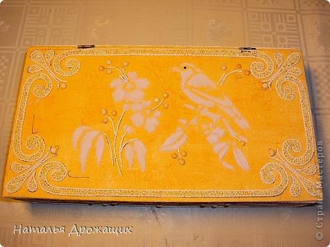 Декор предметов Шкатулка с птичкой Картон гофрированный Материал бросовый фото 6