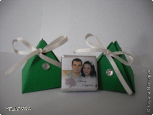 Наполнение бонбоньерок мини-шоколадками с фото молодых. фото 2