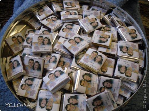 Наполнение бонбоньерок мини-шоколадками с фото молодых. фото 1