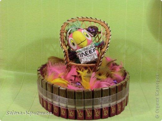 """Здравствуйте.Это моя первая конкурсная работа.Она  называется """"Попугай Кеша в шоколаде""""Я сделала её на тему мультфильмы в сладком варианте.Я сделала её по мультфильму  """"Попугай Кеша"""". В этом форте 5 пачек конфет """"Dolci"""", 8 конфет """"Вечерний звон"""" ,1 конфеты """"BonBon"""". фото 2"""