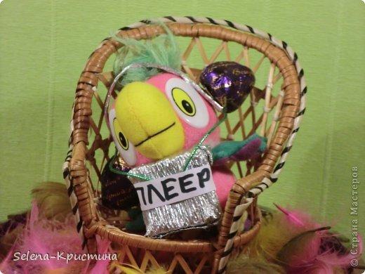"""Здравствуйте.Это моя первая конкурсная работа.Она  называется """"Попугай Кеша в шоколаде""""Я сделала её на тему мультфильмы в сладком варианте.Я сделала её по мультфильму  """"Попугай Кеша"""". В этом форте 5 пачек конфет """"Dolci"""", 8 конфет """"Вечерний звон"""" ,1 конфеты """"BonBon"""". фото 3"""