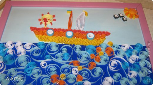 Варя ! сделала  кораблик для бабушки  ко дню рождения) очень старалась ! придумала солнечную дорожку на море )