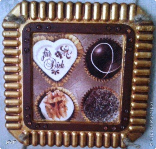 Гипсовые заготовки из коробок для торта. Салфетки кофейной тематики и конфетки. фото 2