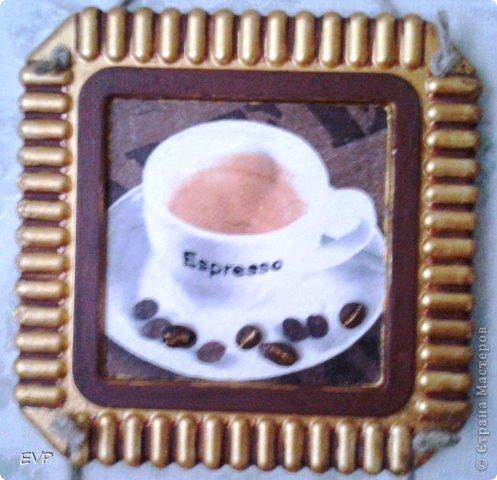 Гипсовые заготовки из коробок для торта. Салфетки кофейной тематики и конфетки. фото 3