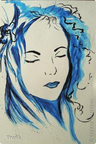 """Первая работа на курсе рисования. Преподавательница в качестве знакомства предложила нарисовать """"автопортрет"""", имеется в виду я рисовала не себя, а просто с фотоматериала девушку, но по своему. А что человек ни рисует, он в любом случае рисует автопортрет. фото 1"""