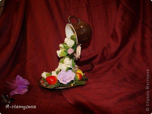 Моя первая парящая чашечка. Вдохновили меня чашечки Светланы https://stranamasterov.ru/user/95856. Решила попробовать. Но на мой взгляд для этих цветочков  маловата сама чашка. А Вы как думаете? фото 3