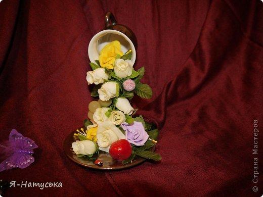 Моя первая парящая чашечка. Вдохновили меня чашечки Светланы https://stranamasterov.ru/user/95856. Решила попробовать. Но на мой взгляд для этих цветочков  маловата сама чашка. А Вы как думаете? фото 5