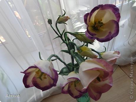 Давно мечтала слепить лизиантус. Лето ушло, последние цветочки в саду замерзли, переходим на цветочные магазины... Купила живой цветок, и за дело... фото 4