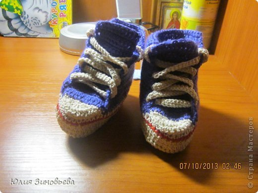 Эти кроссовочки-пинетки тоже подарочек племяшу)))) Идея не моя. фото 3