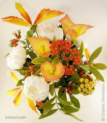 Всем жителям страны добрый вечер! Листала странички с работами и увидела прекрасный букетик с белыми хризантемами и розами. Тоже решила похвастаться. Вот такой букетик получился у меня.  фото 2
