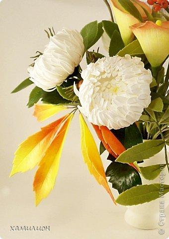 Всем жителям страны добрый вечер! Листала странички с работами и увидела прекрасный букетик с белыми хризантемами и розами. Тоже решила похвастаться. Вот такой букетик получился у меня.  фото 3