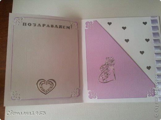 Добрый   вечер, уважаемые  мастера и мастерицы!!!И вновь у меня свадебные открыточки. Заходите ко мне в гости... Жду ваши комментарии! фото 4
