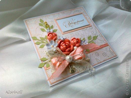 Эта открытка стала моей любимицей, раньше любимых не было))) Всегда хотела сделать розовую или персиковую открытку, но как то не складывалось, композиция не была лаконичной и завершенной, вот и не решалась. Но по воле случая, тобишь дня рождения знакомой сие произошло. В десять часов вечера я получаю приглашение на завтра, ну делать нечего пришлось творить. Результат был готов к двум часам ночи!!! Поэтому качество фото очень пострадало)))) фото 3