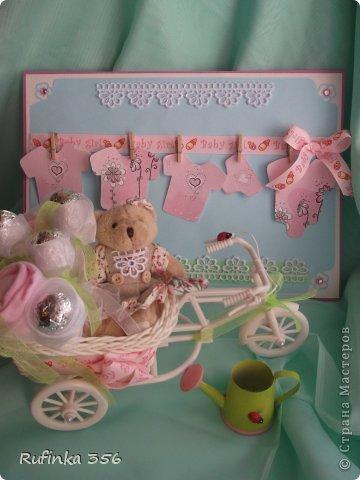 ДОБРОГО ВРЕМЕНИ СУТОК, ДОРОГИЕ МАСТЕРИЦЫ! Презентую комплектик для новорожденной: открыточка ф. А 4, и велосипедик сладкий. фото 1