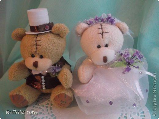 """Приветствую Вас, дорогие мастерицы!!! Встречайте жениха и невесту, хлебом-солью!!! Таких мишек я подготовила для посадки в букет молодым. Купила их """"голеньких"""" приодела- и вперёд, на свадьбу))) фото 1"""