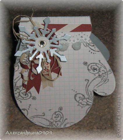 Не могу устоять перед новогодней темой.) Открытки в форме варежки. фото 2