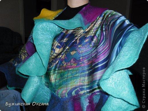 палантин в технике нуновойлок, натуральный шелк, шерсть, волокна конопли, бамбука, шелка и вискозы фото 1