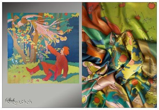 Платок Русские сказки 90*90 см, 100% атласный шелк фото 4