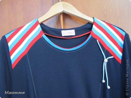 Впервые шила из трикотажа целое платье! ткань - интерлок.  Модель - статная, но платье сЕло очень хорошо. Уже видела в нОске, мне понравилось (хоть и не скромно))) - сдержано, с налетом спортивности, как заказчик и просил фото 3