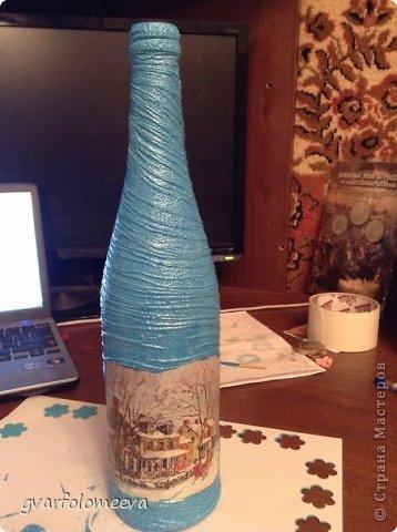 И так поделюсь своим первым опытом декора бутылки с складочками =)  кто то для складок использует бумагу, а кто то колготки....вот я решила сразу попробовать второй вариант -колготки.. фото 6