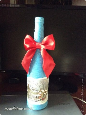И так поделюсь своим первым опытом декора бутылки с складочками =)  кто то для складок использует бумагу, а кто то колготки....вот я решила сразу попробовать второй вариант -колготки.. фото 1