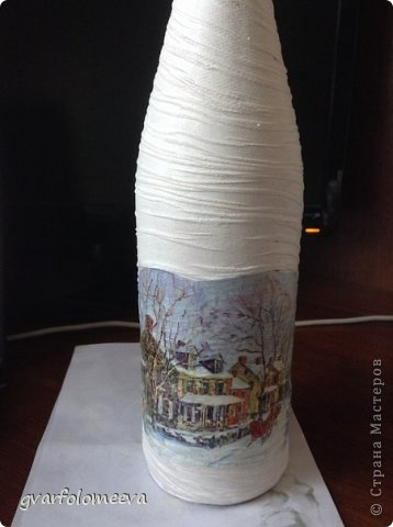 И так поделюсь своим первым опытом декора бутылки с складочками =)  кто то для складок использует бумагу, а кто то колготки....вот я решила сразу попробовать второй вариант -колготки.. фото 5