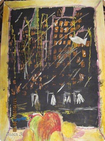 восковой карандаш сверху покрыт чёрной краской,любимая работа моей мамы фото 5