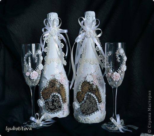 Грядет приятное событие в нашей семье и вот по такому случаю решилась декорировать шампанское и бакалы в таком ключе фото 1