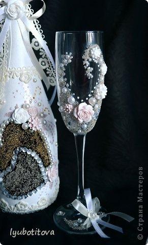 Грядет приятное событие в нашей семье и вот по такому случаю решилась декорировать шампанское и бакалы в таком ключе фото 2