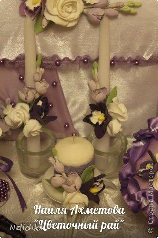 Свадьба, которая состоялась 13 сентября 2013 года. Каскадный букет невесты бело-фиолетовых оттенков из орхидей роз и фрезий. фото 15