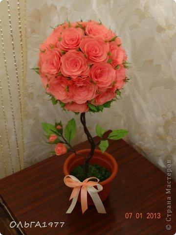 Вот такое розовое деревце получилось в подарок крёстной. фото 1