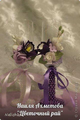 Свадьба, которая состоялась 13 сентября 2013 года. Каскадный букет невесты бело-фиолетовых оттенков из орхидей роз и фрезий. фото 9
