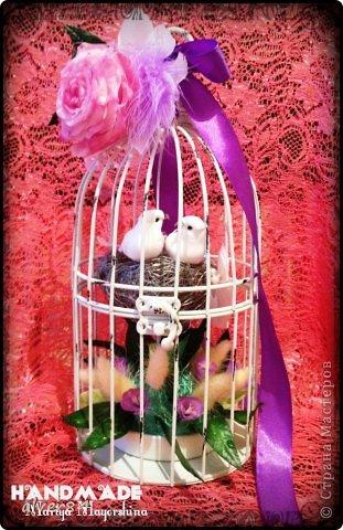 Здравствуй Страна!!! Хочу представить очередную свадебную клеточку-символ семейного гнездышка. Эта  клеточка небольшая - 20см в высоту. Я ее слепила из того, что было))) Цветы были уже готовые, а тут срочно понадобилось сделать такую красоту, вот что получилось. фото 1