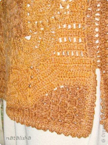 Жилет связан из шерсти в технике нерегулярного вязания крючком № 2,5. фото 7