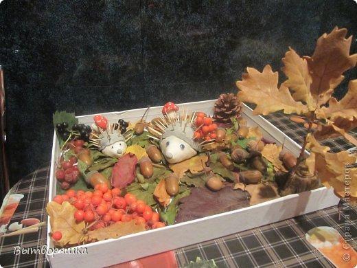 Вот такая у нас поделочка. Ёжики, грибы и пень из соленого теста. фото 7