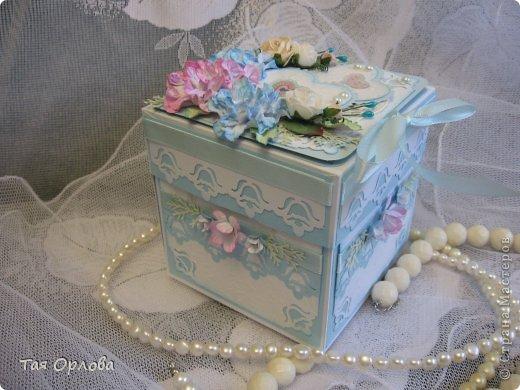 Приветик всем еще разок!На этот раз хочу показать коробочку для денежного подарка на свадьбу.Цветовая гамма -желание заказчицы. фото 1